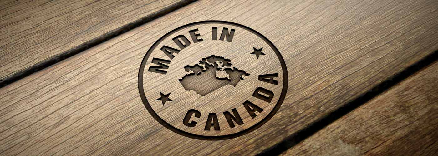 Picture of Made in Canada stamp into wood