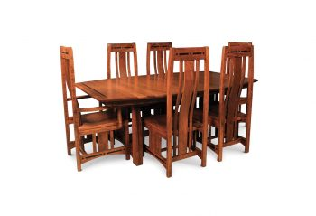 Picture of a Simply Amish Trestle Table with Inlay