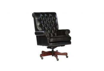 Picture of a Hekman Black Leather Executive Chair